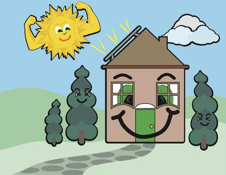 powered: Cartoon conceptual illustration of a solar powered home. Stock Photo