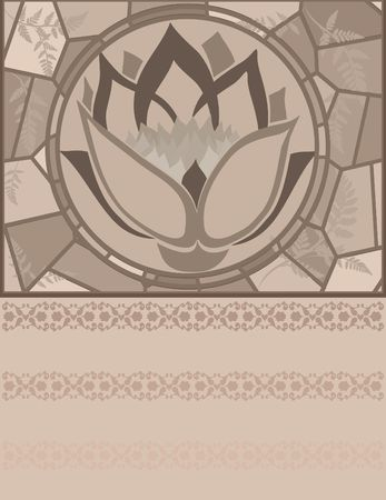 lattice frame: Retro styled stained glass illustration.