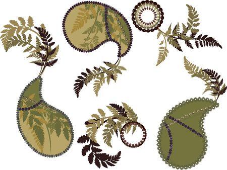 designelement: Retro stylized Paisley set with nature elements.
