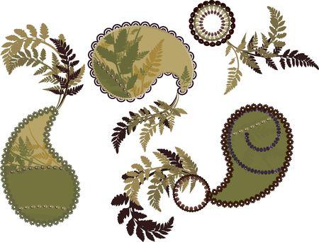 Retro gestileerde Paisley instellen met de natuur elementen.  Stockfoto