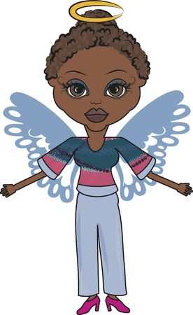 Mandy is a fun character illustration of an African American Angel illustration