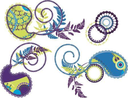 Retro stylized Paisley set with nature elements. photo