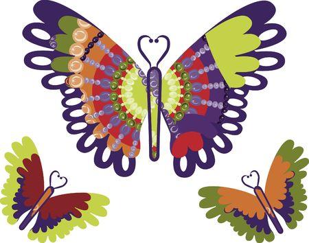 Retro gestileerde vlinders.