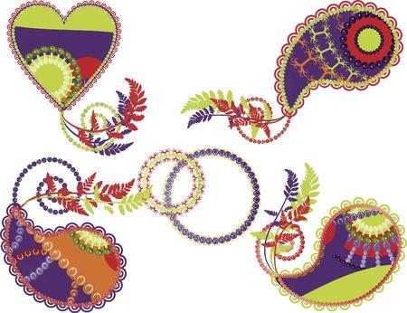 Retro stylized Paisley instellen met elementen van aard.