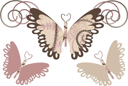 crystal background: Retro stylized butterflies. Stock Photo