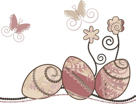 fertility goddess: Easter eggs with warm retro feel, accented with gemstones on a floral background. Stock Photo