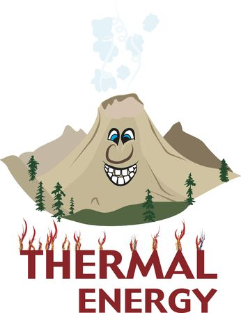 thermal energy: Cartoon Volcanic mountain full of thermal energy. Stock Photo