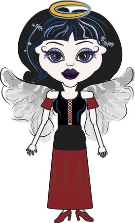 Violet is a fun character illustration of a Gothic Angel  illustration