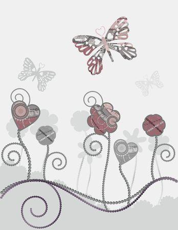 Textured floral illustration, with butterflies. Standard-Bild