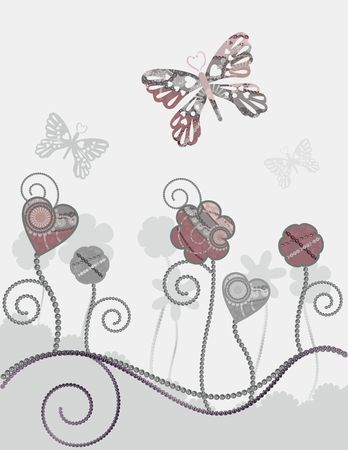 Textured floral illustration, with butterflies. Stock Photo
