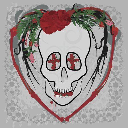 Retro styled illustration of a human skull. illustration