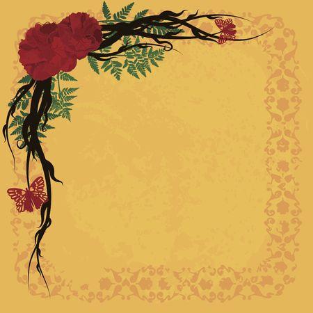 Abstracte achtergrond met rozen, vlinders en natuurlijke grunge textures. Nr. Kleurverlopen.