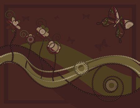 Abstract vlinder bloemen achtergrond met natuurlijke grunge texturen. Geen kleur overgangen.  Stockfoto