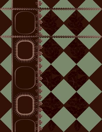 Abstract  Plaid background with pearls, gemstones. No Gradients. photo