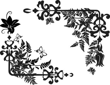 Fern laat geïllustreerd in een grunge frame elementen met vlinders.