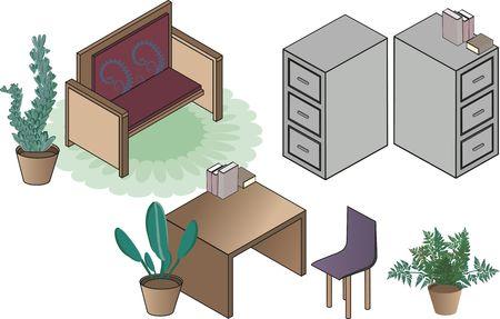 Isometric illustration of office clip art  illustration