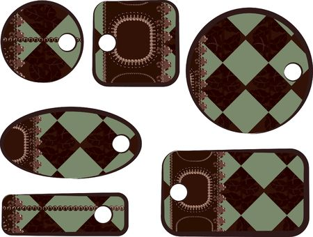 Abstract Plaid Tags met parels, edelstenen. Geen kleur overgangen.  Stockfoto