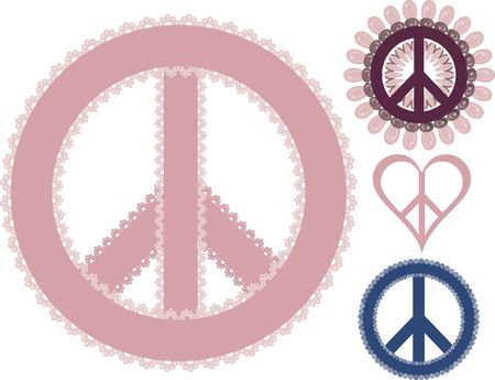 Peace symbols with lace and pearls. No gradients. Imagens