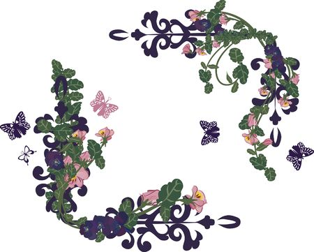 Vector drawing of pansy frame elements with butterflies.