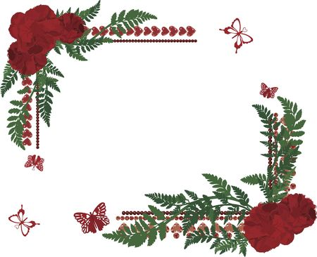 fern fiddlehead: Drawing of rose frame elements with butterflies.