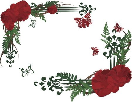 Drawing of rose frame elements with butterflies.