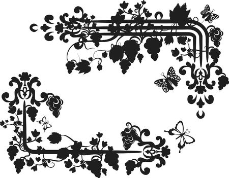 Illustration of grapes and ivy in a border design element.  File contains no gradients.