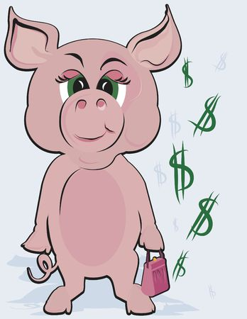 Green Money conceptual illustration of a smart money pig with green dollars. illustration