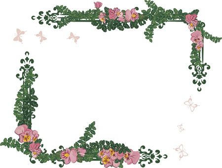 drawing of pansy frame elements with butterflies.