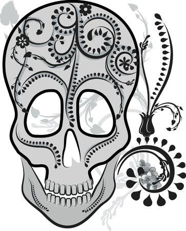 Retro styled illustration of a human skull.