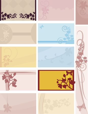 businesscard: Orchid themed tags and business cards.