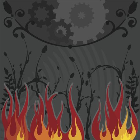 Conceptual illustration with flames and gears. illustration