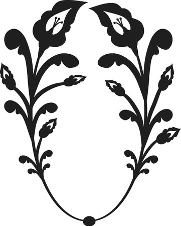 Drawing of Arum Lily frame element. One color. Banco de Imagens