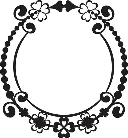 gnostic: Four leaf clover with abstract roses in a frame design element, One color.