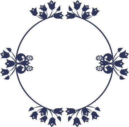 Abstract Blue Bell flowers in a frame design element. One Color.