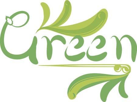 グリーン手の功妙な flouretes でユニークな描画するテキスト。