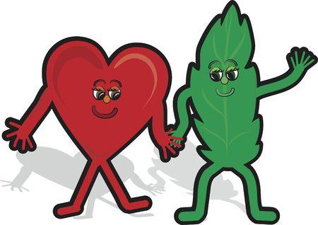 Green loving cartoon illustration.