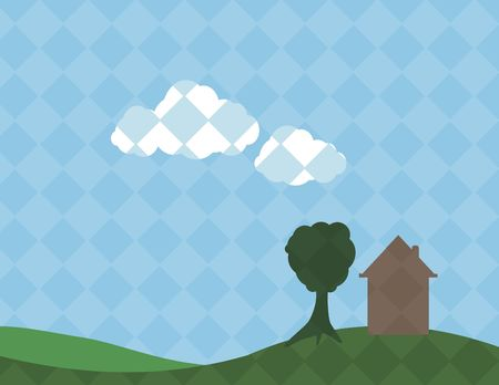 Plaid patterned home with rolling hills. No Gradients. Stock Photo