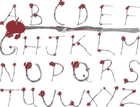 mortalidad: Vixen Grunge es un original huesos y sangre de fuentes silvestres mediante AZ grunge accidentes cerebrovasculares. Las fuentes son distintas formas y son f�ciles de editar.  Vectores