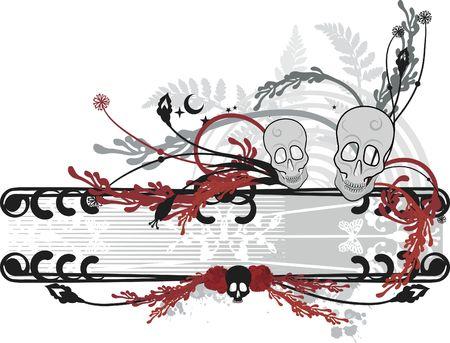 Conceptual illustration of skulls in a retro border. illustration