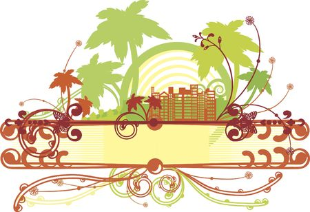 Conceptual image of a growing tropical city full of life. Stock Photo - 3107461