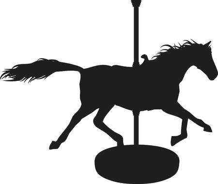 merry mood: Carousel Horse Mauve is a fun Silhouette of a carousel horse.  Stock Photo