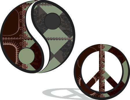 simbolos religiosos: Yin y Yang y los s�mbolos de la paz en un divertido estilo retro.  Foto de archivo