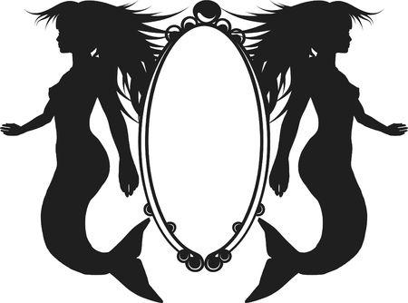 Retro stylized illustration of a Mermaid  版權商用圖片