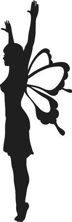 mortalidad: Retro estilizada ilustraci�n de un hada, un color.
