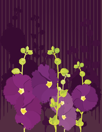 Abstract Hollyhock flowers. No Gradients Stock Vector - 3158680