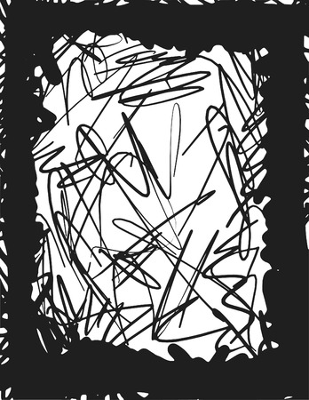 abandon: Doodles of wild abandon, abstract drawing, made with ink and brush  One color.