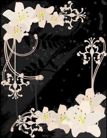 Hand drawn tiger lily with retro background. No gradients. photo