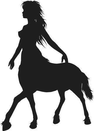 Illustration of a stylized centaur woman, contains no gradients.  Illustration