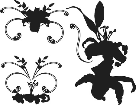 Tiger lilies silhouette set. One color. Vector