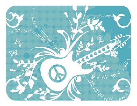 Fun musical background with electric guitar and peace symbols, no gradients. photo